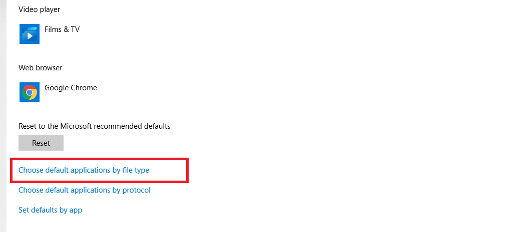 choose default applications by file type menu windows 10