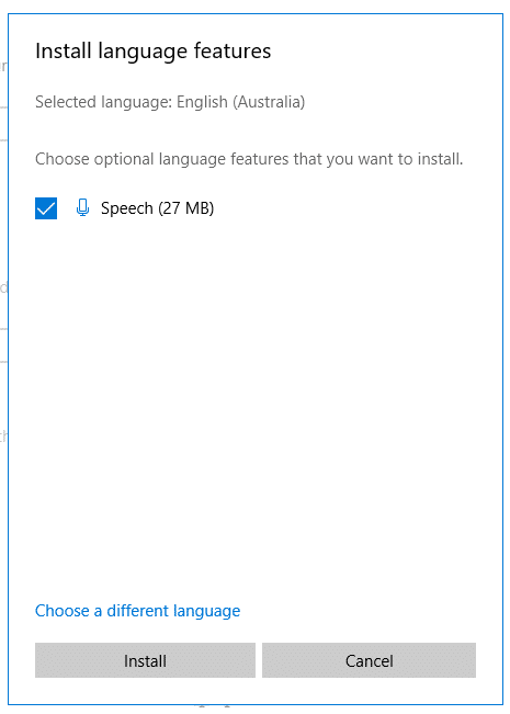install language feature on Windows 10