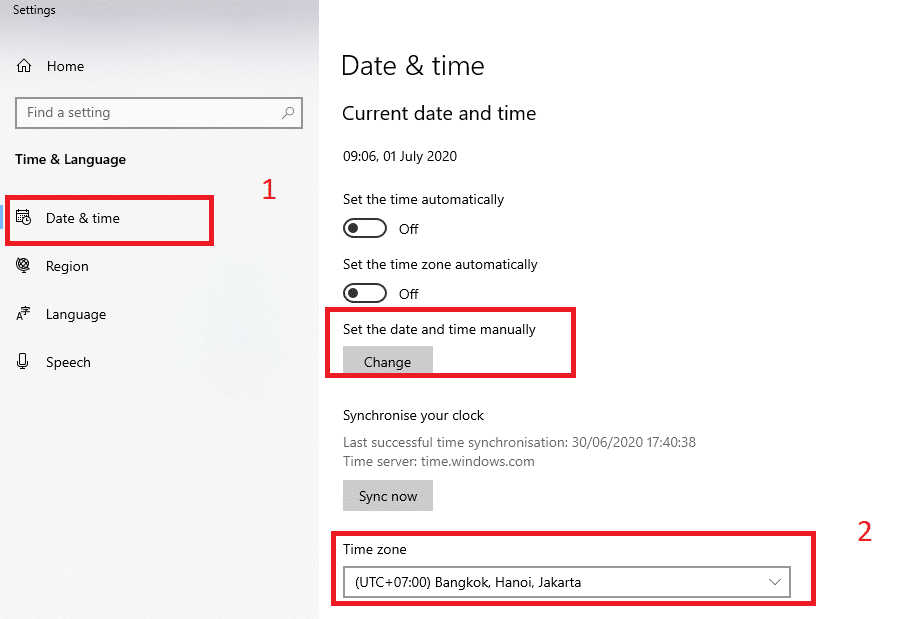 settings date time Windows 10