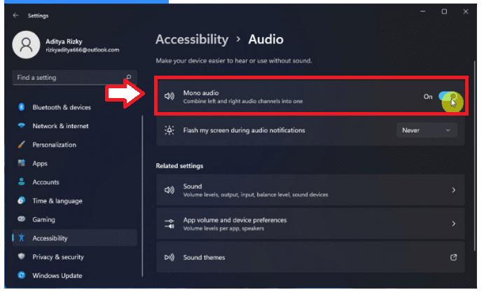 HOW TO ACTIVATE AUDIO MONO ON WINDOWS 11